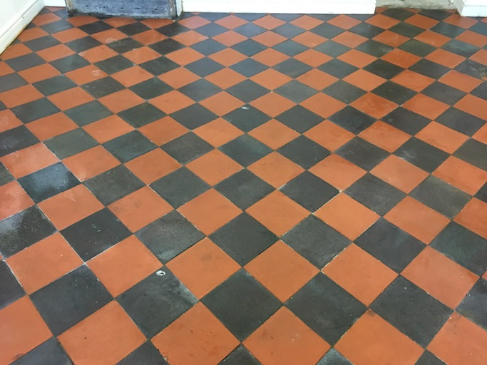 Quarry tiled floor after cleaning