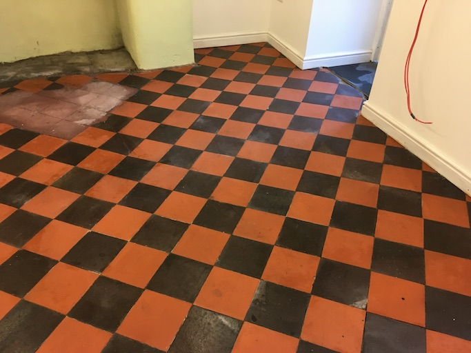 Quarry tiled floor in Oswestry after cleaning